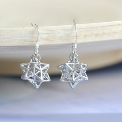 4d cute star earrings - small stellated dodecahedron jewelry