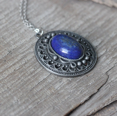 Fine jewelry Lapis lazuli necklace Victoria style women gift for her