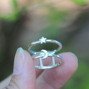 Load image into Gallery viewer, 925 sterling silver moon and star ring,dainty half moon ring,Moon phases ring,Crescent Moon Ring,celestial jewelry,Minimalist jewelry,