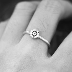 Load image into Gallery viewer, 925 sterling silver White Lotus RING,custom silver ring,Stacking Ring,yoga ring,lotus jewelry,Fashion Jewelry FL107R