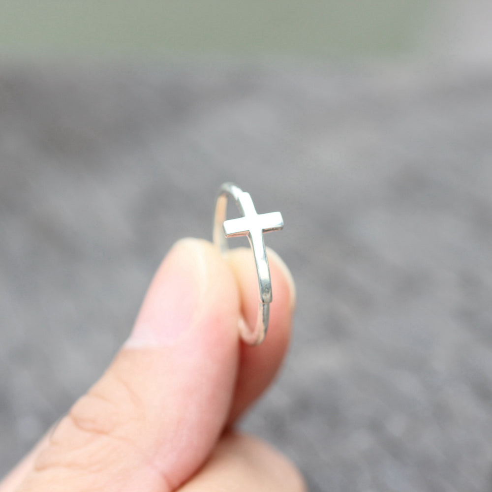 silver cross ring,silver Sideways Cross Ring,Christian ring,Christian jewelry