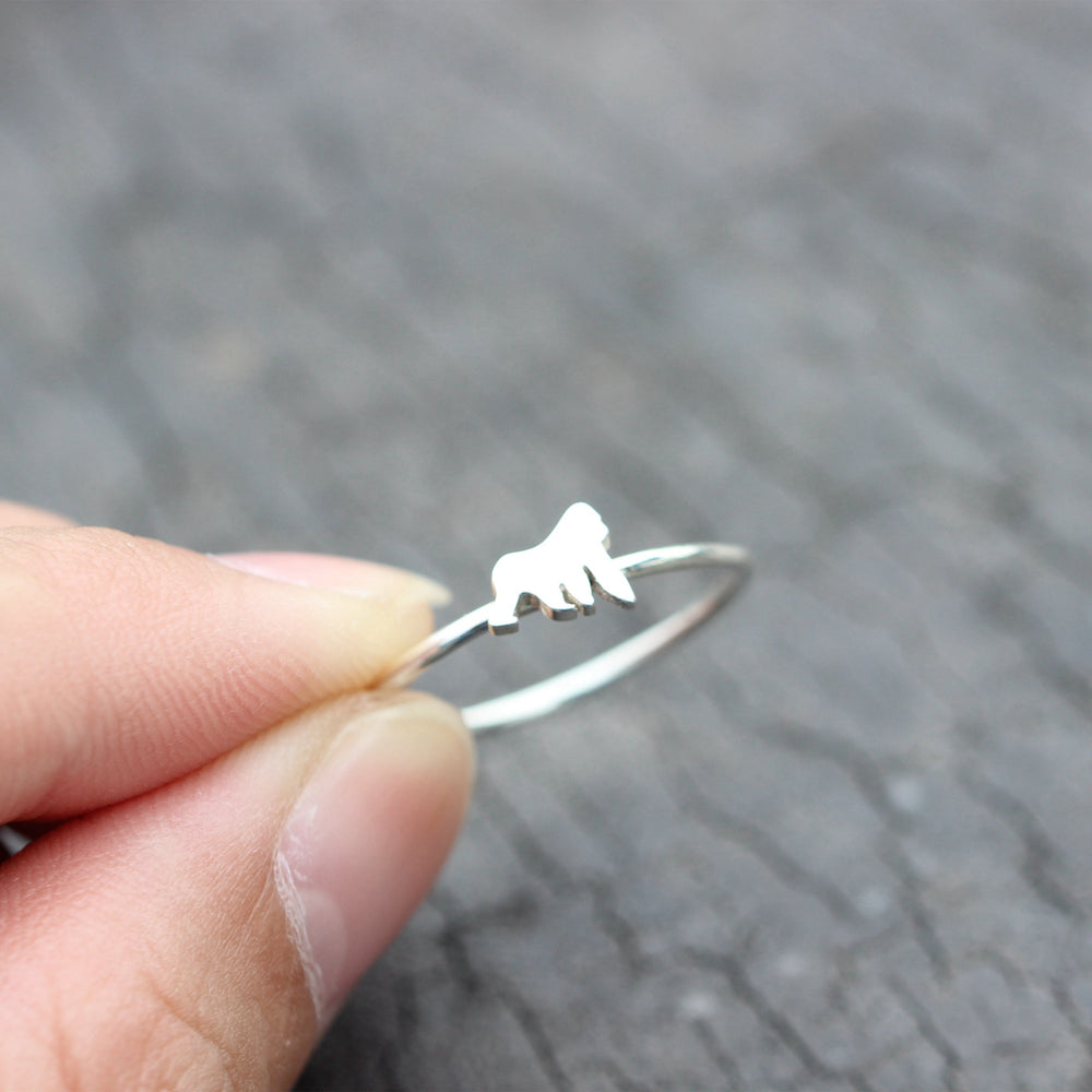 Load image into Gallery viewer, Silver Gorilla ring,dainty gorilla ring,minimalist jewelry,gorilla jewelry
