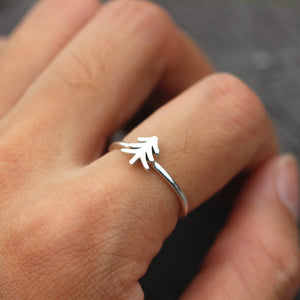 Load image into Gallery viewer, dainty silver ring, silver pine tree ring,CUSTOM tree ring,life of tree ring,Evergreen Tree ring,Statement Ring,Wedding Gift,