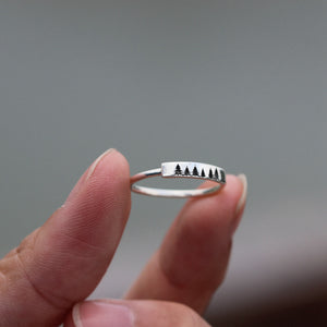Load image into Gallery viewer, silver pine tree ring,sterling silver ring,EvergreenTree Ring