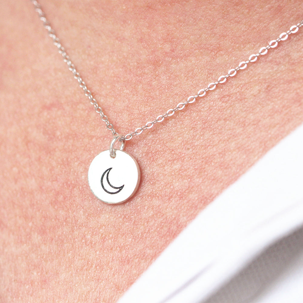 Load image into Gallery viewer, 925 Sterling Silver Moon necklace,Delicate Moon Necklace,Crescent Moon Necklace, Delicate Simple Necklace, Charm Necklace