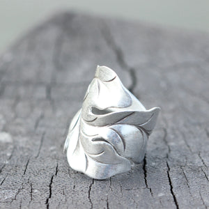 Load image into Gallery viewer, 925 sterling silver Oak Leaf Ring,leaf figher ring,Ring of Oak Leaves,Silver Boho Ring, Nature Ring,Oak Leaf Jewelry,Leaf Band Ring