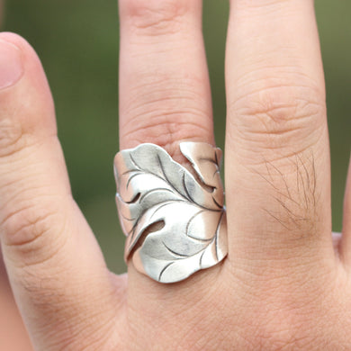925 sterling silver Oak Leaf Ring,leaf figher ring,Ring of Oak Leaves,Silver Boho Ring, Nature Ring,Oak Leaf Jewelry,Leaf Band Ring