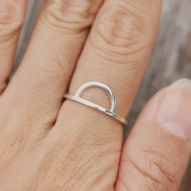Half Moon Ring, 925 Sterling Silver, simple Ring, Roseandchoc Ring, Stacking Ring, Dainty Ring, Minimalist Ring
