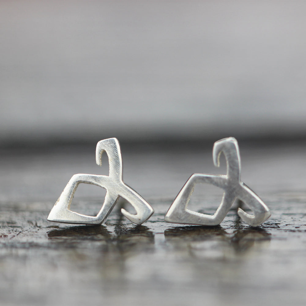 Load image into Gallery viewer, 925 sterling silver Parabatai Rune earrings,Shadowhunters Angelic Power Rune stud earrings, bestfriend gift, geek jewelry FL005E