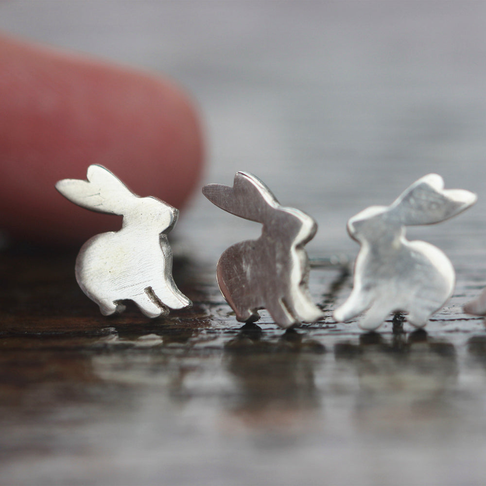 Load image into Gallery viewer, 925 Sterling Silver, bunny stud earrings, silver rabbit Stud Earrings, Minimalist jewelry,Animal Lover Gift,bestfriend gifts