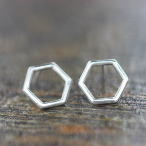 Load image into Gallery viewer, 925 sterling silver Minimalist Hexagon stud earrings,Open Hexagon earrings,Geometric Stud Earrings,Silver Stud Earrings,teacher gifts,