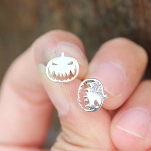 Load image into Gallery viewer, 925 sterling silver Pumpkin earrings,silver ghost earrings