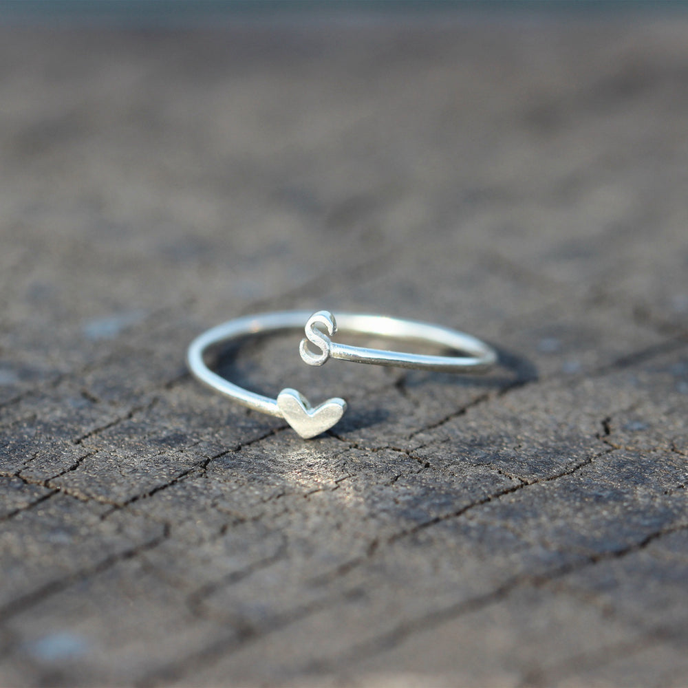 Load image into Gallery viewer, over 100 - Personalized Open heart Ring,Custom Initials Ring,love Ring,Adjustable Ring,Tiny silver ring,Sterling silver Ring,Thin silver ring,1MM RING