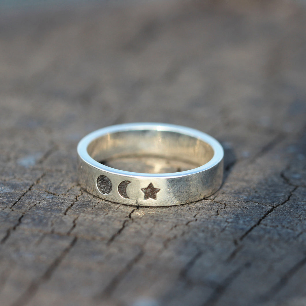 sterling silver sun ring,moon ring,dainty moon ring,silver star Rings,sky jewelry,Night and Day Ring,scelestial jewelry,Minimalist jewelry