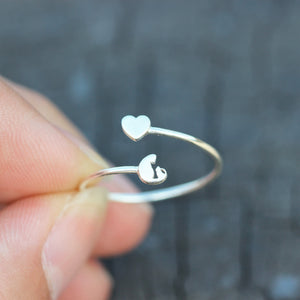 Load image into Gallery viewer, Dainty Cat ring,silver love heart RING,dainty slver ring,animal lover jewelry,