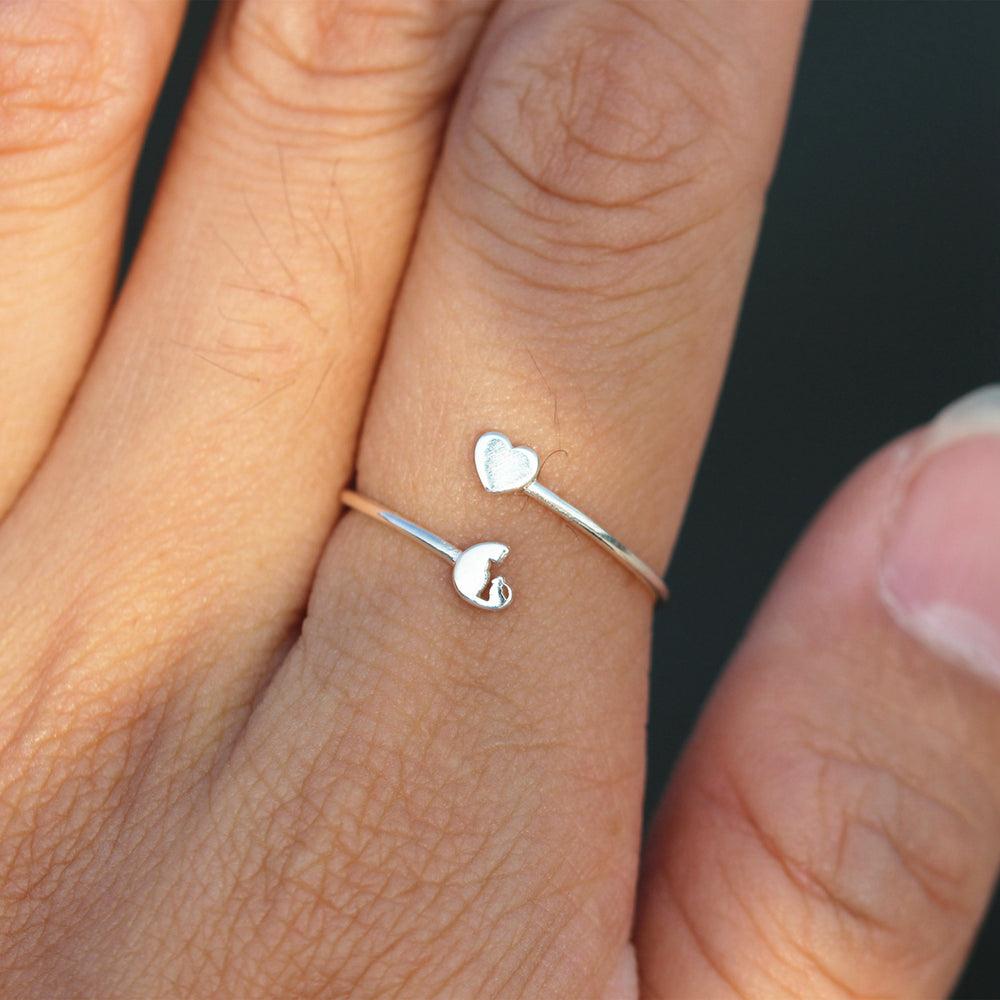 Dainty Cat ring,silver love heart RING,dainty slver ring,animal lover jewelry,