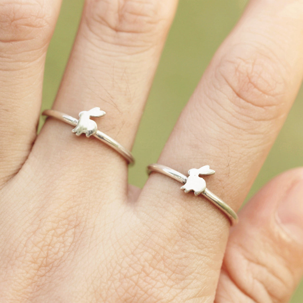 Set of 2, 925 sterling silver Bunny Ring, Little Bunny, Bunny Rabit Ring, Rabbit Rings,Gift ideas, SILVER Rabbit Ring, Minimalist RING