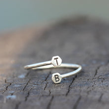 over 100 - Personalized Open Initial Ring,Custom Initials Ring,925 silver letter Ring,Adjustable Ring,Stacking Ring,Sterling silver Ring,Letter Ring