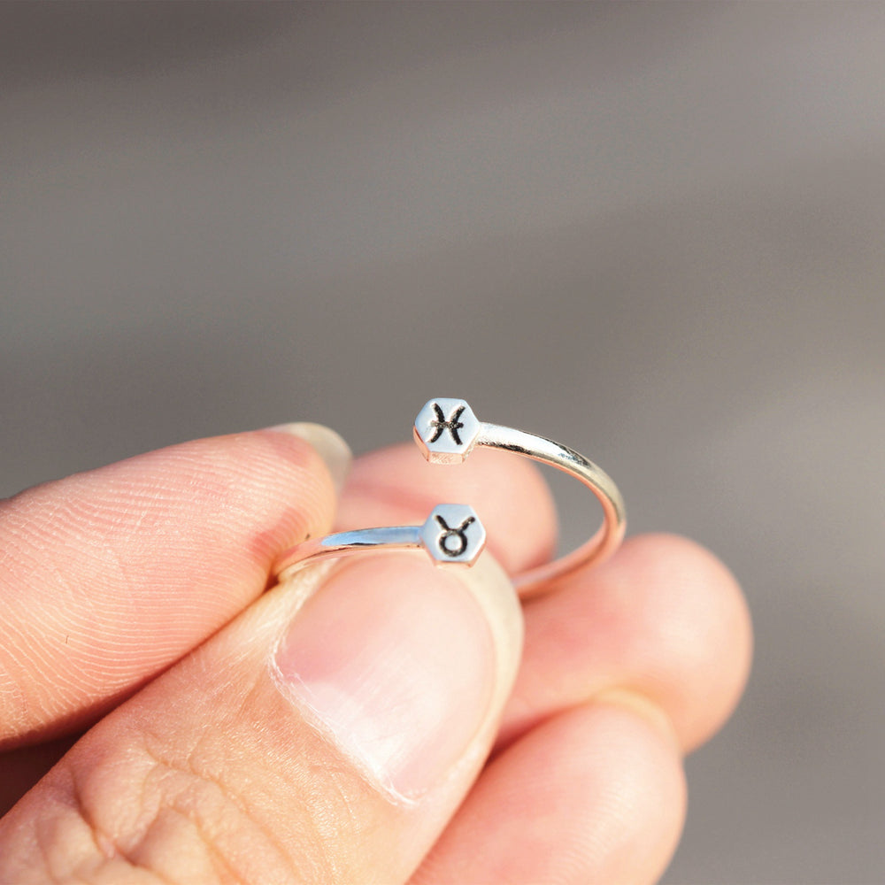 Load image into Gallery viewer, over 100 - silver custom Zodiac ring,Personalized Zodiac ring,Sterling silver hexagon ring,Aries ring,Taurus ring,Gemini ring,Virgo,Libra,gift for her,