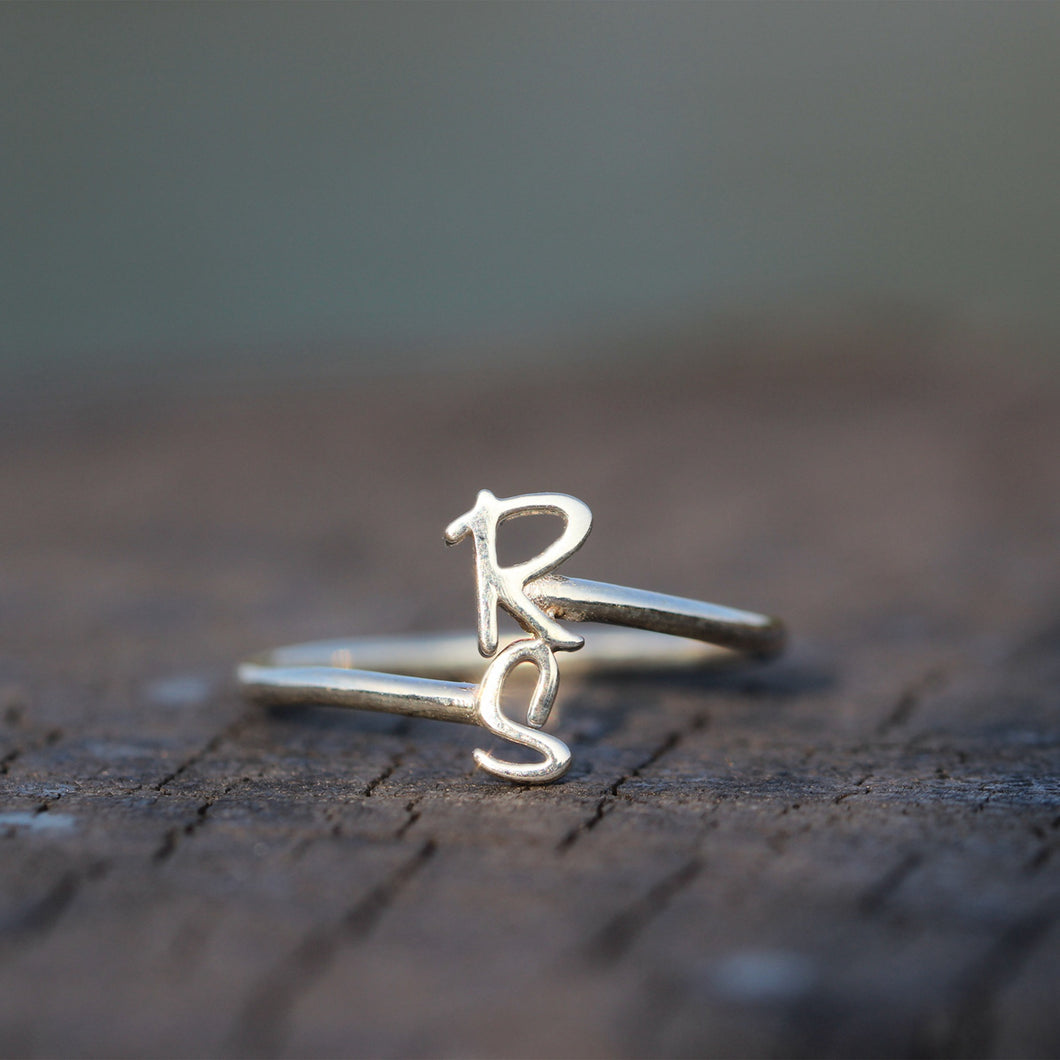 leave note - Personalized Open initial Ring,Custom Initials Ring,Dainty Initial Ring,Sterling silver name Ring,Letter Ring,he and her,gift idea for her