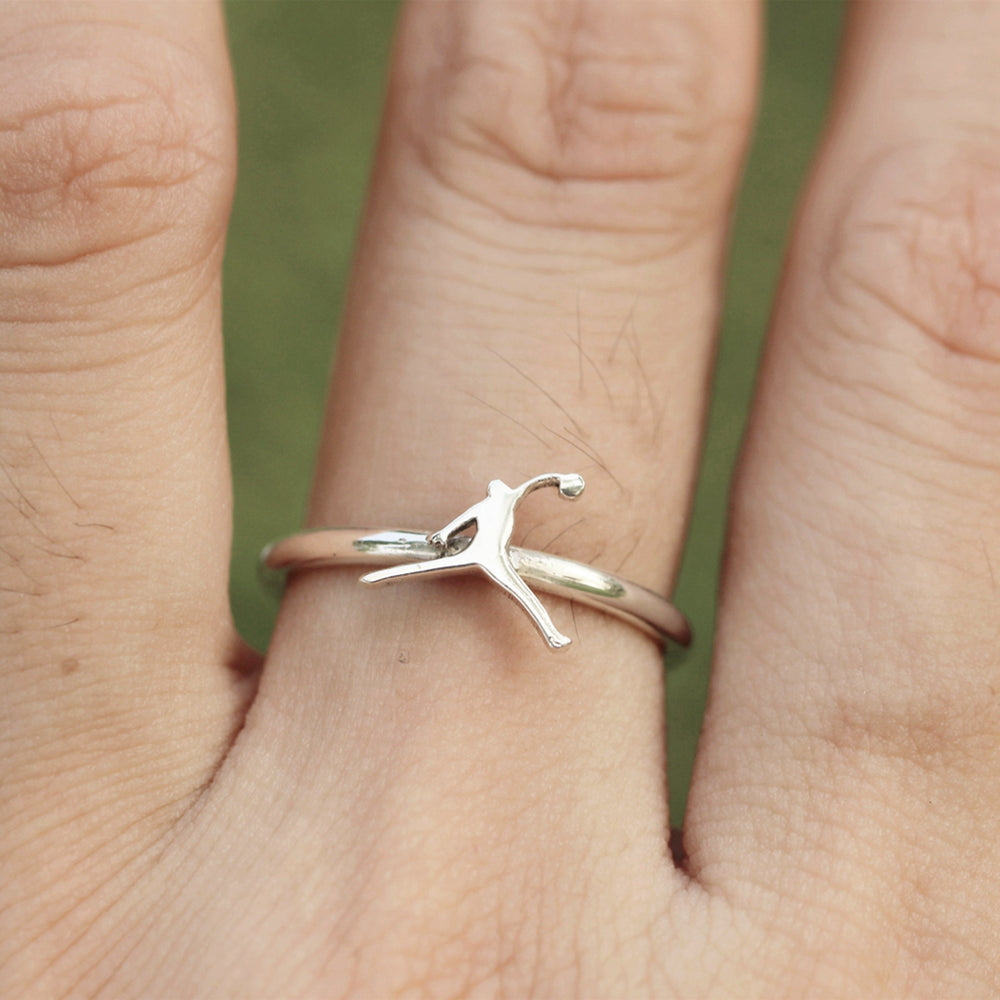 Basketball ring,Basketball player, sterling silver,Sports Fan Jewelry, Sports Band Ring,Gift for Her, Everyday jewelry