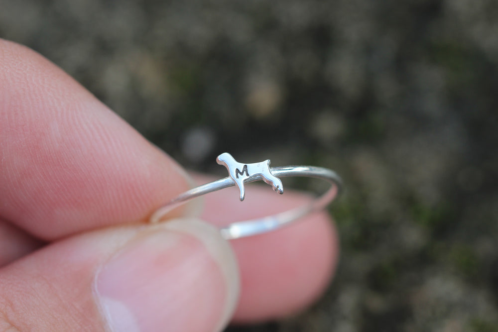 Load image into Gallery viewer, 925 silver Weimaraner dog ring,custom initial ring,family animal lover jewelry,custom animal pet jewelry