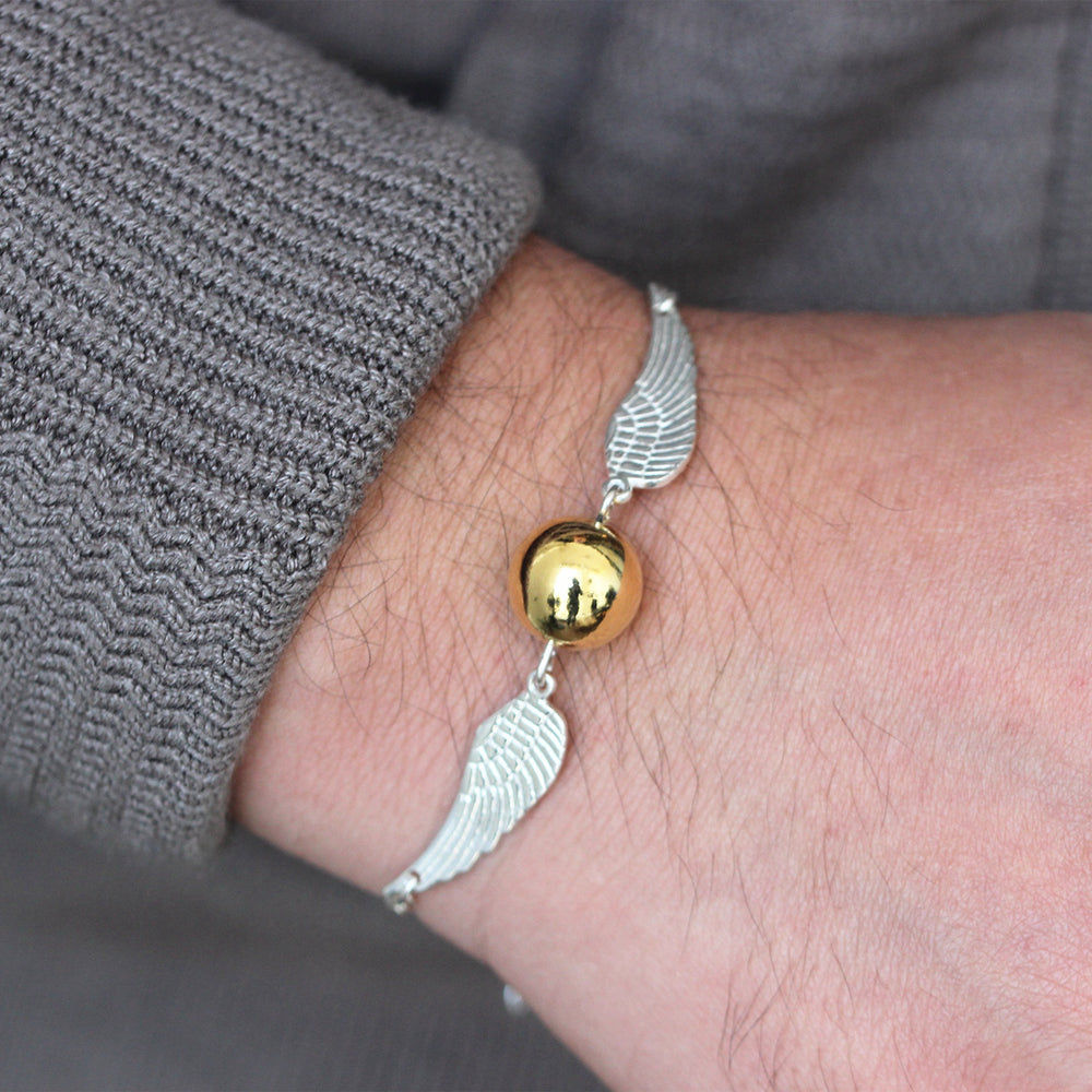 925 silver gold ball wing bracelet