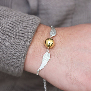 Load image into Gallery viewer, 925 silver gold ball wing bracelet