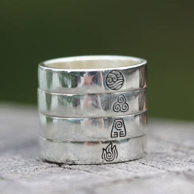 solid 925 silver Avatar The Last Airbender ring Water Bender ring ,Fire Nation ring ,Earth Kingdom,Air Nomal ring ,flower ring