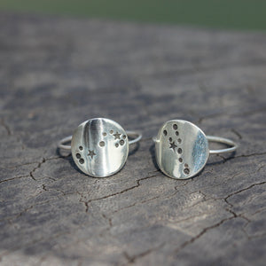 Load image into Gallery viewer, 925 sterling silver Zodiac Constellation Ring,horoscope rings,Zodiac ring,virgo ring,Scorpio ring,meanfully jewelry woman ring gift idea
