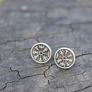 Load image into Gallery viewer, silver Vegvisir earrings,viking earrings,Viking Rune earrings,sterling silver jewelry,viking protection,gift idea