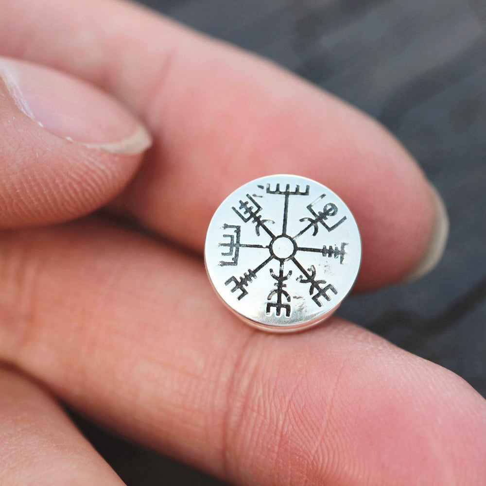 Load image into Gallery viewer, sterling silver Vegvisir Brooches,silver rune Brooches,Viking rune Brooches,Valknut Norse Viking Symbol inspired jewelry,gift idea for her