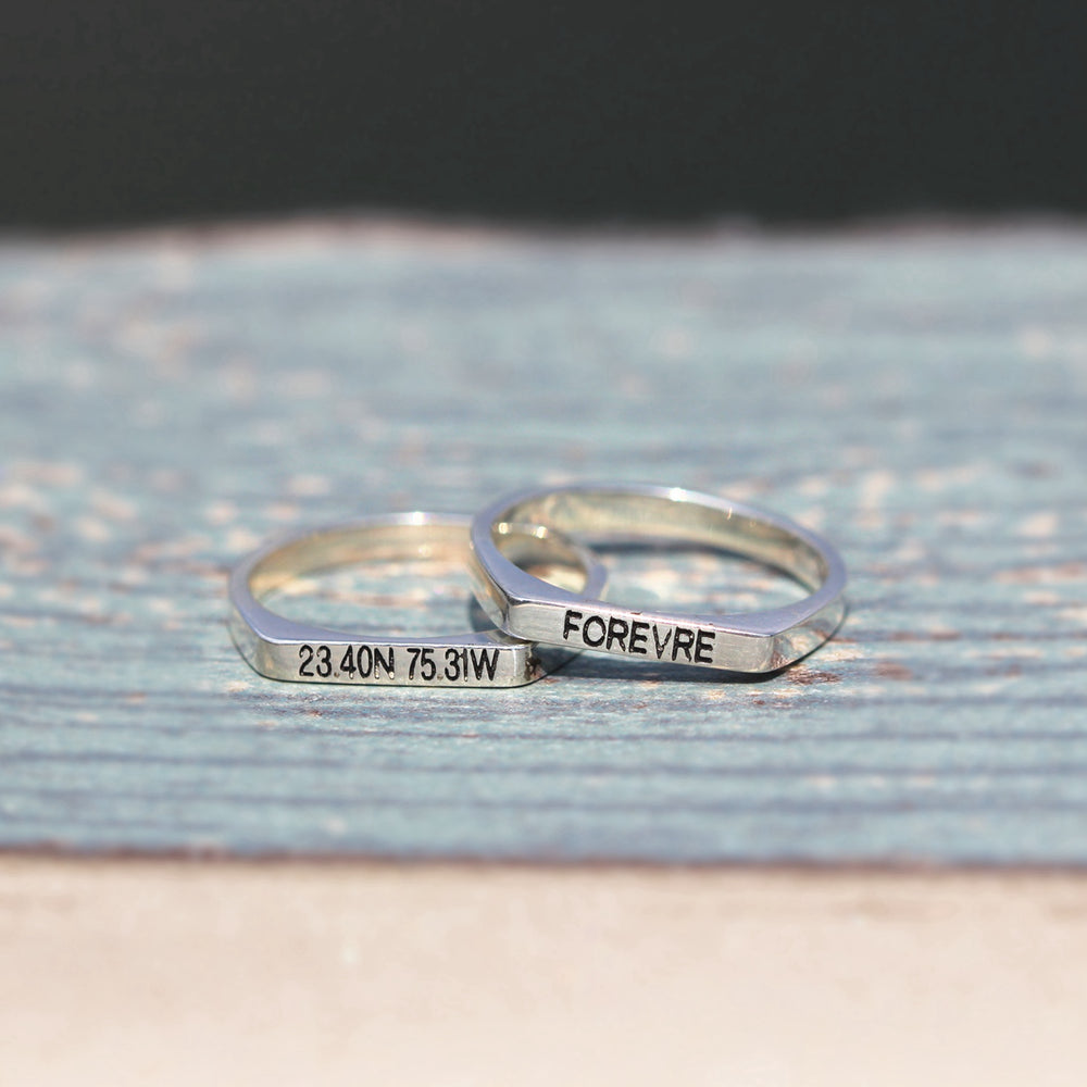 leave note - Custom SILVER Initial ring, letter ring, Personalized silver word ring,letters Jewelry, dainty silver ring,gift idea