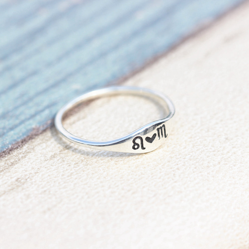 Load image into Gallery viewer, leave note - Custom Initial ring Constellation ring, Zodiac Jewelry, Astrology Zodiac ring, libra, virgo, scorpio, sagittarius, capricorn,