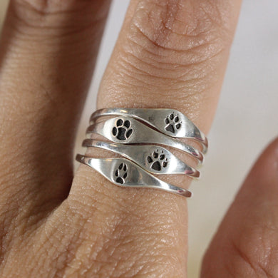 925 silver foot ring,Horse Hoof Ring,silver paw ring,Footprint Ring,Wolf Foot Ring,silver Paw Ring,bear,tiger,fox foot ring
