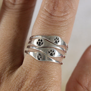 Load image into Gallery viewer, 925 silver foot ring,Horse Hoof Ring,silver paw ring,Footprint Ring,Wolf Foot Ring,silver Paw Ring,bear,tiger,fox foot ring
