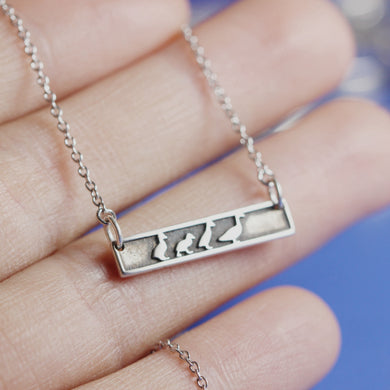 925 sterling silver custom family duck necklace,Personalized bar necklace,Animal Necklace