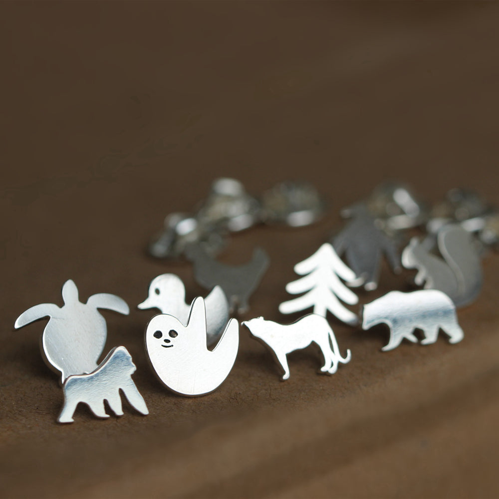 Load image into Gallery viewer, sterling silver brooch,pet brooch,sloth brooch,bear brooch,hen brooch,tree brooch,moon brooch,squirrel brooch,turtle brooch,Penguin brooch