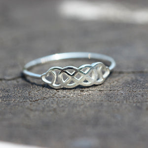 Load image into Gallery viewer, silver Double Infinity Ring,Double Infinity Symbol With Hearts ring,silver infinite ring,ring,jewelry,love ring,heart jewelry,love gift ring