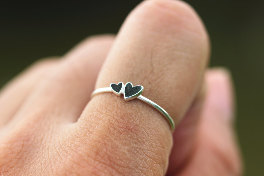 solid 925 silver double heart ring,midi silver ring,ring,love ring,my love jewelry,2 heart ring,gift idea