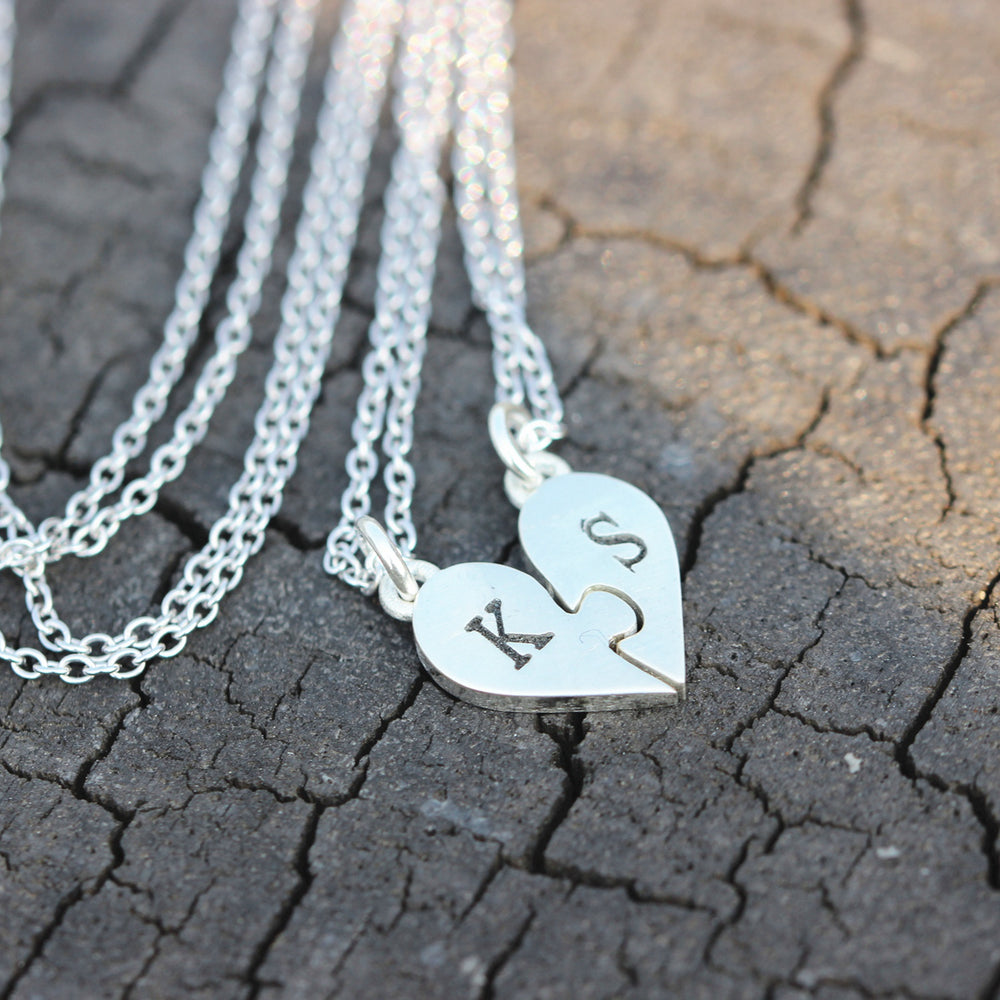 Load image into Gallery viewer, set of 2, sterling silver initial necklace,Heart Puzzle Necklace,best friend jewelry,Daughter Jewelry,Family Jewelry,Sister Gift,Birthday