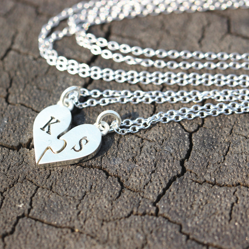 set of 2, sterling silver initial necklace,Heart Puzzle Necklace,best friend jewelry,Daughter Jewelry,Family Jewelry,Sister Gift,Birthday