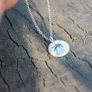 Load image into Gallery viewer, sterling silver mosquito necklace,silver skeeter necklace,silver insect jewelry,vampire jewelry,unique jewelry,handmade jewelry