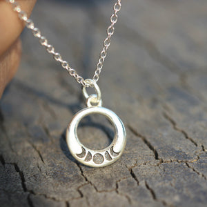 Load image into Gallery viewer, 925 sterling silver moon phase necklace,silver Crescent Moon necklace,moon jewelry,Dainty Moon Necklace,Moon Necklace,celestial jewelry