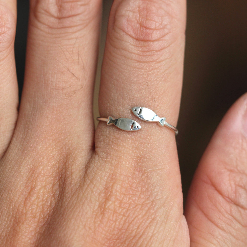 sterling silver Lucky fish Ring,Christian Fish Ring,Silver Fish Ring,adjustable ring,Confirmation Ring, Christian Ring,midi fish ring