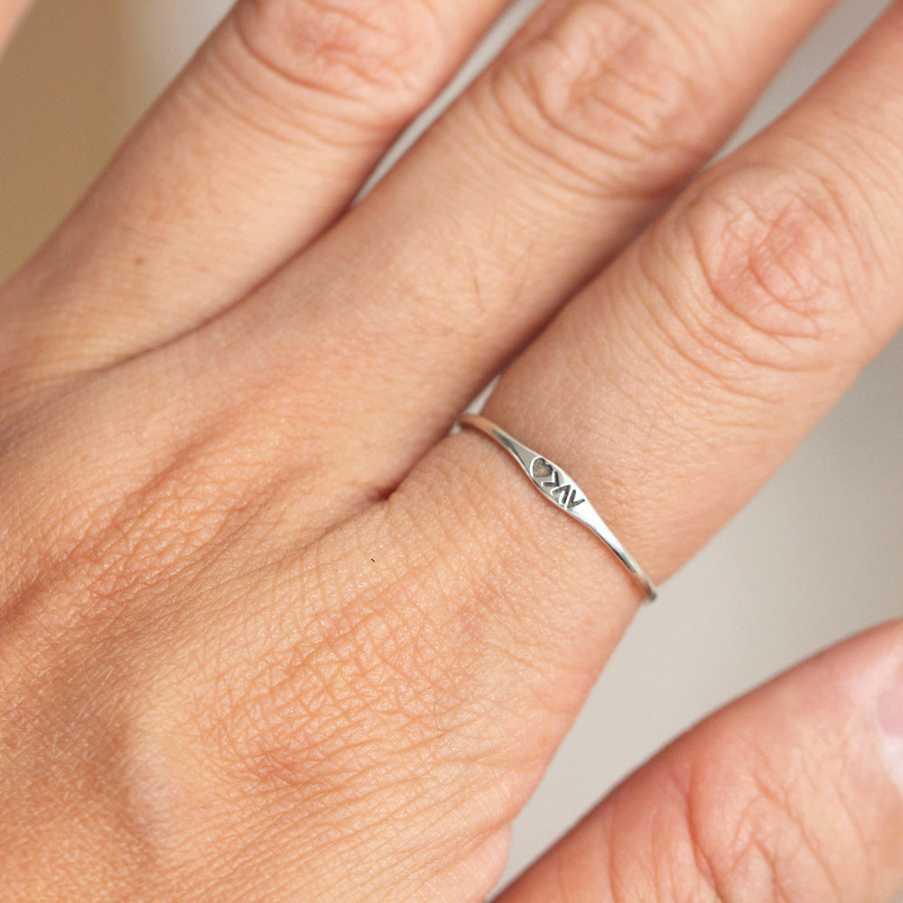 Load image into Gallery viewer, sterling silver Dainty silver ring,Love is biggest,you are my best.No One Else but you,tiny heart ring,midi love ring,Love Quote ring