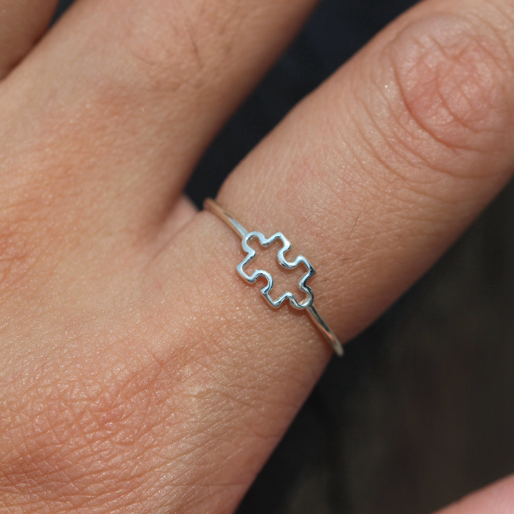 Load image into Gallery viewer, puzzle ring silver,tiny ring,We Just fit jewelry,ring,Autism Awareness,silver dainty ring,puzzle ring,silver puzzle jewelry,valentine gift