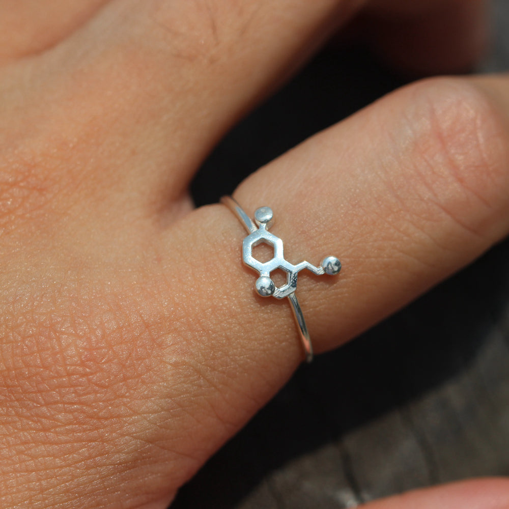 Load image into Gallery viewer, sterling silver Serotonin & Dopamine Molecules ring,chemistry symbol jewelry,minimalistic jewelry,Science Lovers jewelry gift idea