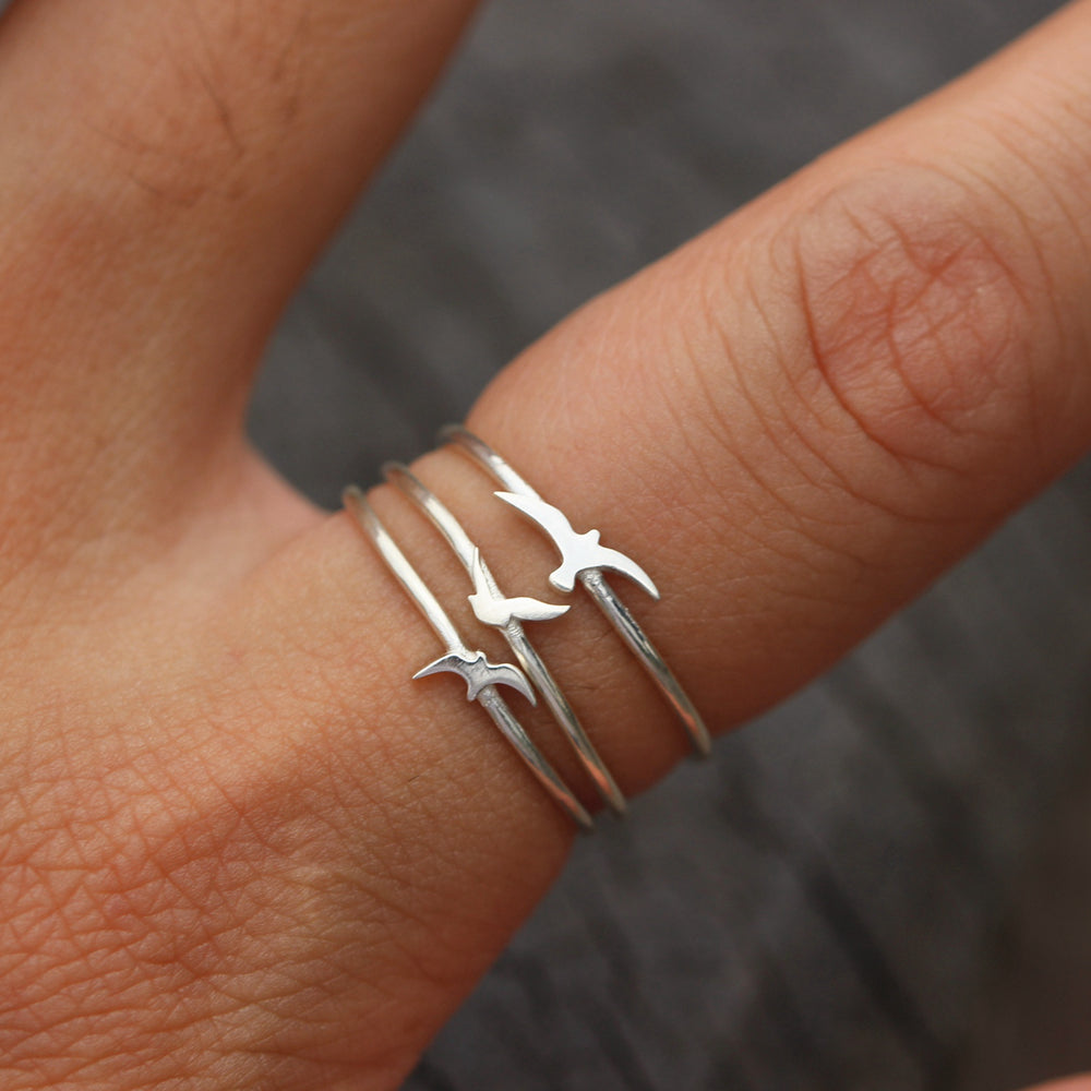 Load image into Gallery viewer, set of 3,fly bird ring,sterling silver Bird Lover Gift,bird jewelry,minimalist ring,silver Dainty ring,Bird Lover Gift,gifts idea