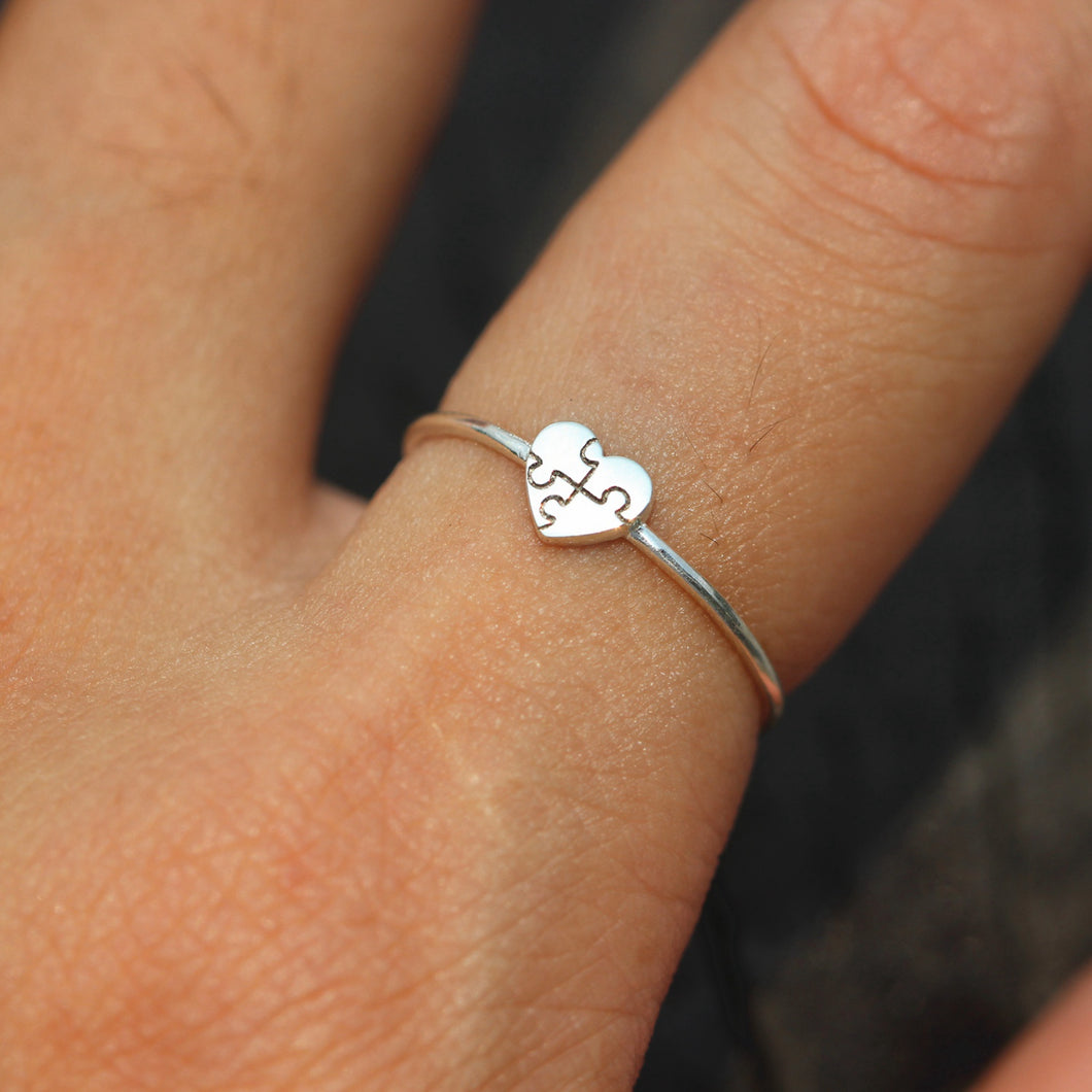 dainty heart puzzle ring silver,heart ring,We Just fit jewelry,ring,Autism Awareness,silver Love ring,puzzle ring,silver puzzle jewelry